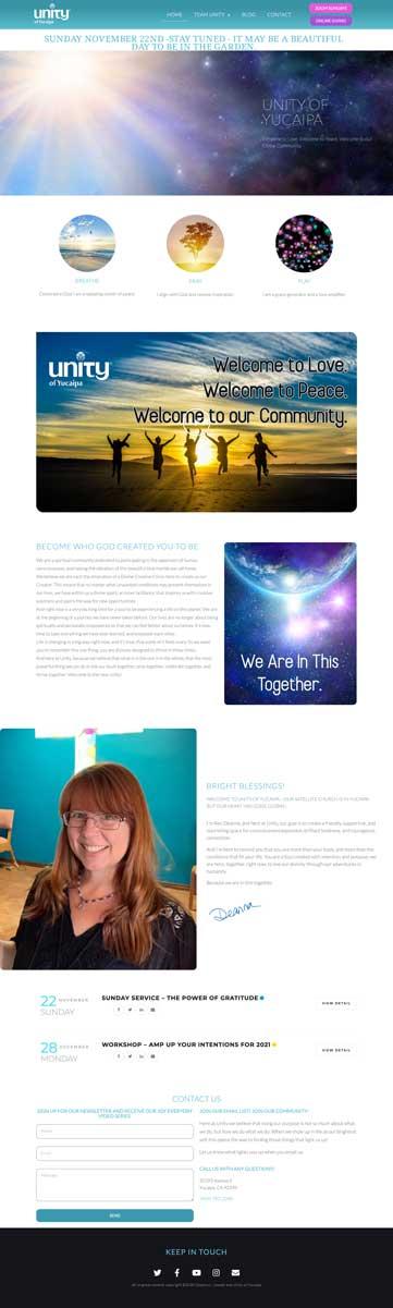 Screenshot of Unity of Yucaipa website